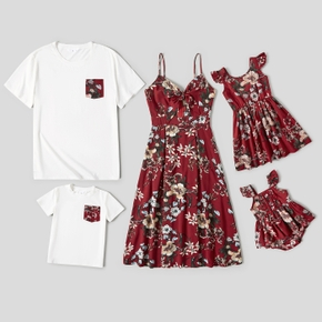 Floral Print Red Family Matching Sets