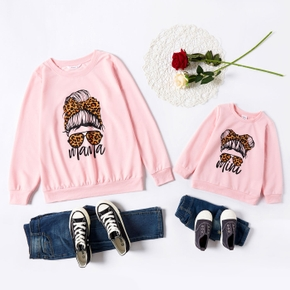 Letter Leopard Print Sweatshirts for Mommy and Me