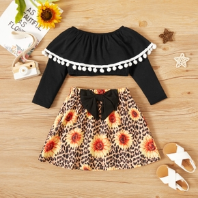 2-piece Toddler Girl Pompon Decor Doll Collar Long-sleeve Top and Bow Decor Floral Leopard Print Skirt