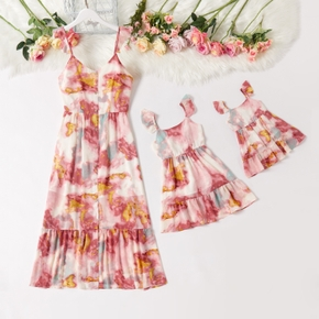 Colorful Tie-dye Series Sling Dresses for Mommy and Me