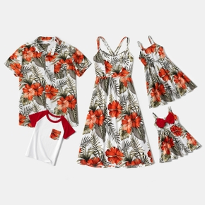 Mosaic Floral Print Family Matching Red and White Sets