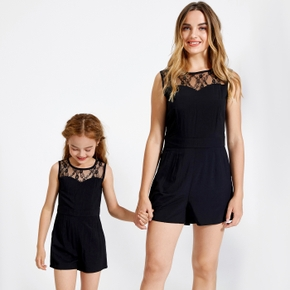 Solid Black Lace Stitching Matching Tank Shorts Rompers