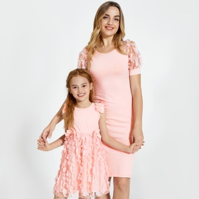 Solid Color Macthing Pink Mini Dresses