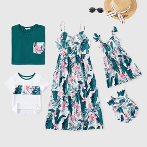 Mosaic Floral Print Family Matching Green and White Sets