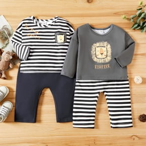 2-piece Baby Boy Letter Animal Print/Striped Long-sleeve Top and Striped/Solid Pants Set