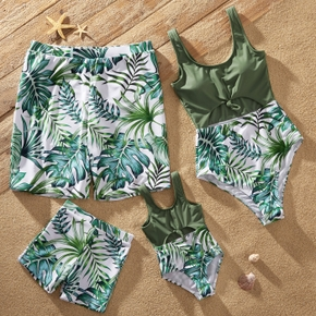 Family Look Leaf Print Stitching Solid Hollow Out One-piece Matching Swimsuits