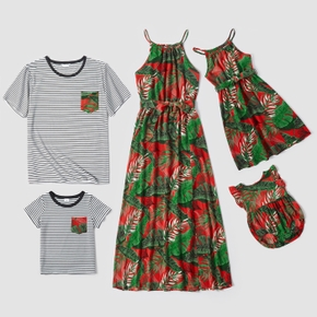 Leaf Print Family Matching Sets( Halter Neck Design Dresses for Mom and Girl ; Striped Short Sleeve T-shirts for Dad and Boy)