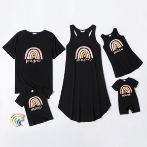 Rainbow Pattern Casual Black Family Matching Sets(Mini Tank Dresses for Mom and Girl ; Loose Short Sleeve T-shirts for Dad and Boy)