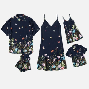 Butterfly Floral Series Family Matching Sets(Sling Dress - Loose Button Front Shirts - Rompers)