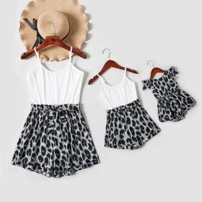 Leopard Splice White Sling Short Rompers for Mommy and Me