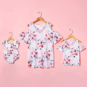 Floral Print Short Sleeve Tops for Mom and Me