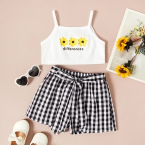 Toddler Girl Letter Daisy Print Tank Top and 100% Cotton Plaid Shorts Set