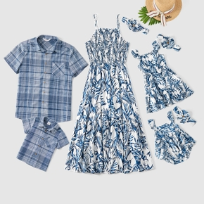 Mosaic Floral and Plaid Print  Family Matching Blue Sets