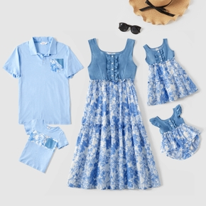 Mosaic Floral Print Family Matching Blue Sets