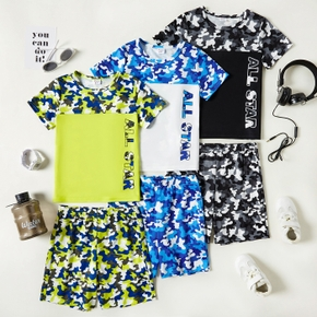 Camouflage Color Block Tee and Shorts Athleisure Set for Toddlers / Kids