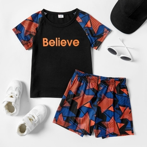 'Believe' Stripe Stars Print Tee and Shorts Athleisure Set for Toddlers/Kids