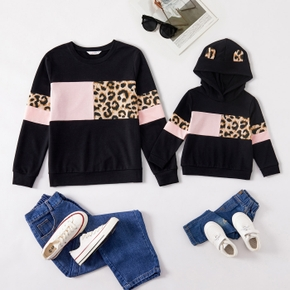 Leopard Color Block Matching Sweatshirt for Mom and Me