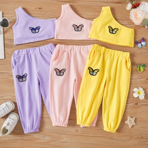 2pcs Butterfly Embroidery One Shoulder Baby Set