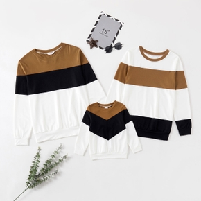Color Block Splice Long-sleeve Matching Pullovers Tops