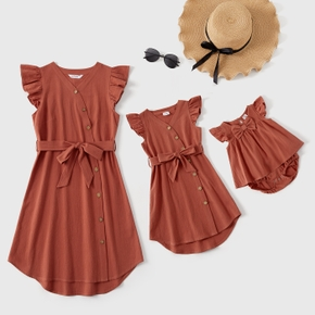 100% Cotton Solid Ruffle Sleeves Dresses for Mommy and Me
