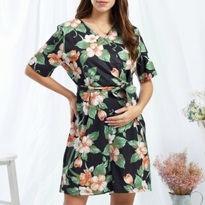 Maternity Vacation Floral Print Suspender pants