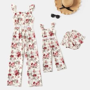Floral Allover Sleeveless Matching Red and White Tank Jumpsuits