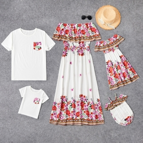 100% Cotton Floral Print Family Matching Sets(Off-shoulder Dresses for Mom and Girl ; White Short Sleeve T-shirts for Dad and Boy)