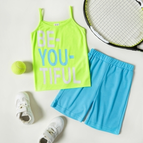 Letter Print Camisole Top and Shorts Athleisure Set for Toddlers/Kids