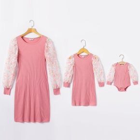 Ribbed Dotted Mesh Splice Long-sleeve Matching Pink Midi Dresses