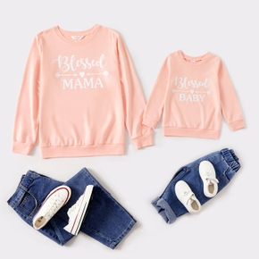 Letter Print Long-sleeve Matching Sweatshirts Pullovers