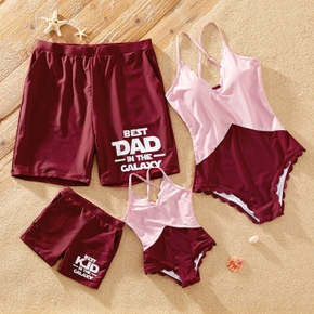 Letter Print Color Block Family Matching Swimsuits