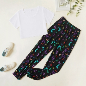 2-piece Kid Girl Short-sleeve Solid Top and Butterfly Print Elasticized Pants