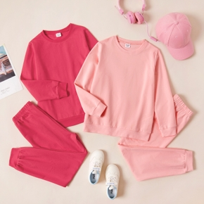 2-piece Kid Girl Solid Pullover and Elasticized Pants Sporty Casual Set