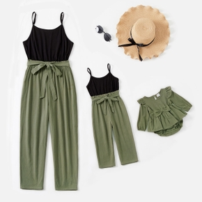 Solid Splice Sleeveless Matching Green Sling Jumpsuits