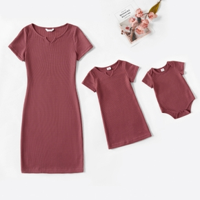 Ribbed Solid Short-sleeve Matching Pink Midi Dresses