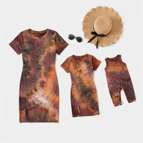 Tie-dye Skinny Mini Dresses for Mommy and Me(Loose Baby Rompers)