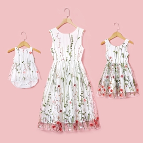 Floral Embroidered Matching White Midi Tank Dresses
