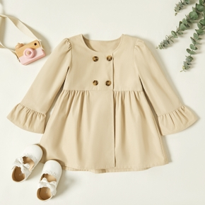 Toddler Girl Button Design Bell sleeves Casual Solid Jacket Coat