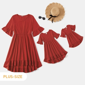 100% Cotton Solid Ruffle-sleeve Matching Red Midi Plus Size Dresses