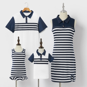 Mosaic Stripe Print Family Matching Navy Blue and White Sets