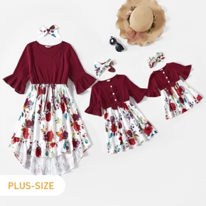100% Cotton Floral Print Splicing Crepe Ruffle Sleeve Dresses
