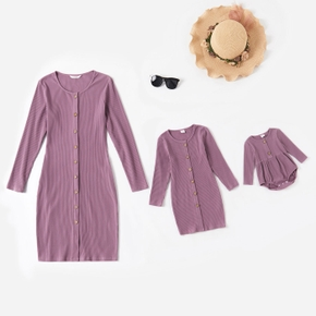 Ribbed Solid Purple Long-sleeve Button Front Cotton Dress for Mom and Me