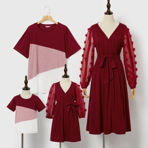 Color Block or Mesh Splice Family Matching Crimson Sets