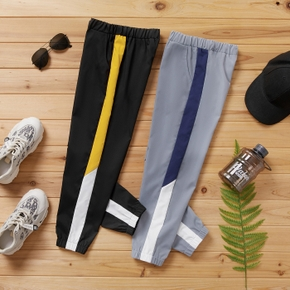 Kid Boy Colorblock Elasticized Casual Pants Sporty Sweatpants with Pocket