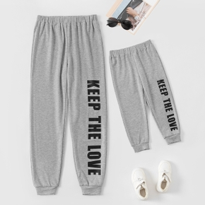 Letter Print Family Matching Grey Sweatpants