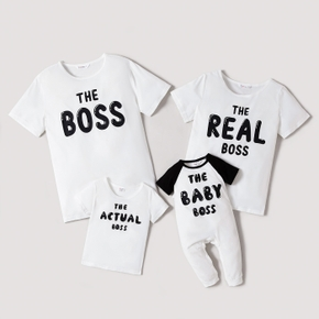 Mosaic 'BOSS' Print Cotton Family Matching White Tees and Jumpsuit