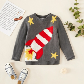Toddler Boy Stars Rocket Embroidered Sweater
