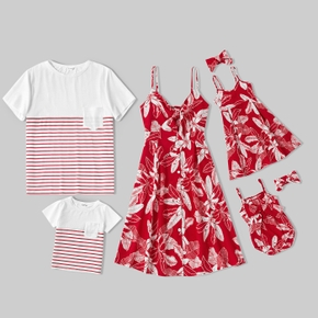 Mosaic Leaves and Stripe Family Matching Red and White Sets