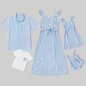 Blue and White Stripe Series Family Matching Sets(Sleeveless Dresses for Mom and Girl ; Short Sleeve Shirts for Dad and Boy)