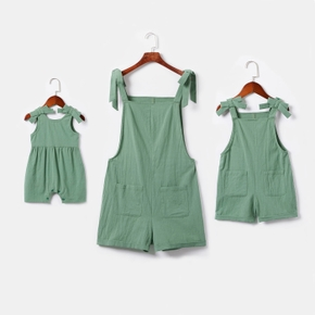Solid Green Strappy Tie Shoulder Front Pockets Short Rompers for Mommy and Me